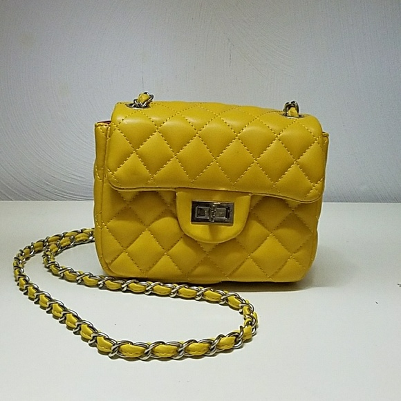 Handbags - Yellow Quilted Mini Bag